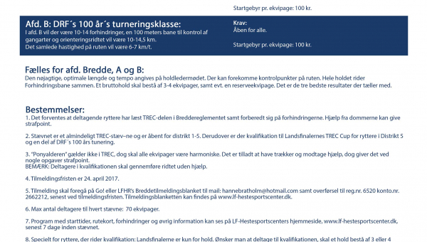 Propositioner for TREC Breddestævne d. 6. maj 2017